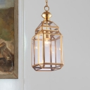1 Head Down Lighting Colonialism Clear Glass Lantern Pendant Ceiling Light for Dining Room