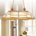 Gold Prismatic Island Pendant Light Colonial Sandblasted Glass 8 Lights Living Room Suspension Lamp
