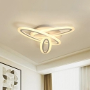 Oval Flush Mount Lighting Simple Style Acrylic White LED Ceiling Lamp in Warm/White Light, 31.5