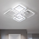 White Square Flush Mount Light Fixture Simple Acrylic LED Ceiling Light in Warm/White Light