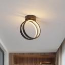 Ring Acrylic Ceiling Mounted Light Simple Black/White LED Flush Light in Warm/White/3 Color Light