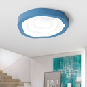 Geometric Flush Mount Macaron Metal Black/Yellow/Green LED Ceiling Lighting in Warm/White/Third Gear Light