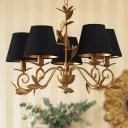 Contemporary Cone Metal Chandelier Lighting 5 Lights Hanging Lamp in Black and Gold for Living Room