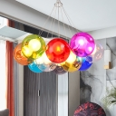 Chrome Globe Pendant Chandelier Modernist Colorful Dimpled Blown Glass 10/15/25 Lights Hanging Ceiling Light
