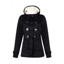 Female Classic Warm Long Sleeve Hooded Zipper Front Shearling Liner Plain Fitted Duffle Coat
