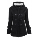 Plain Basic Long Sleeve Hooded Zip Front Pockets Side Sherpa Liner Slim Fit Duffle Coat for Women