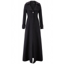 Boutique Ladies' Long Sleeve Notch Collar Button Front Fitted Maxi Plain Coat