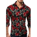 Romantic Rose Floral Printed Long Sleeve Lapel Collar Button Up Slim Manly Shirt