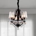 Black Barrel Ceiling Light Fixture Postmodern Rectangle-Cut Crystal 3/6 Lights Bedroom Chandelier Lamp