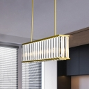 4 Lights Rectangle Island Pendant Light Postmodern Gold Tri-Sided Crystal Rod Hanging Light Kit