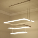 Contemporary LED Chandelier Lighting White 3 Tier Rectangular Hanging Ceiling Lamp with Metal Shade in White/Warm Light