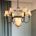 Armed Restaurant Chandelier Lamp Traditionary Metal 9/12 Heads Black Hanging Ceiling Light with Flared Fabric Shade