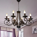 Antique Curved Arm Chandelier Light Metal 8 Heads Suspended Lighting Fixture in Black