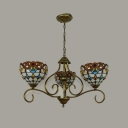 Cut Glass Domed Hanging Chandelier Mediterranean 3/6/8 Lights Antique Brass Suspension Pendant Light
