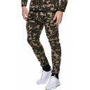 New Trendy Camouflage Pattern Skinny Fit Leisure Trousers for Men