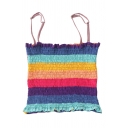 Trendy Girls' Sleeveless Colorful Stripe Print Lettuce Edge Pintuck Fitted Cami Top in Blue