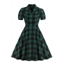 Green Trendy Short Sleeve Lapel Collar Plaid Printed Button Front Midi Pleated Flared Polo Dress for Girls