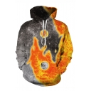 Gray and Orange Yin Yang Wolves 3D Pattern Long Sleeve Casual Pullover Hoodie