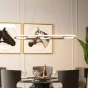 Oval Hanging Ceiling Light Simple Metal Coffee LED Island Lighting Fixture, Warm/White Light