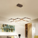 Coffee Square Hanging Lamp Contemporary Metal LED Chandelier Pendant Light in Warm/White Light