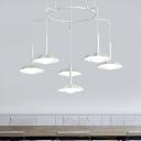 Scallop Chandelier Pendant Light Modern Acrylic 6 Heads White Hanging Ceiling Light