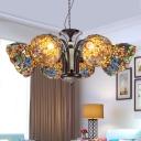 Bronze Bowl Chandelier Lighting Fixture Victorian 3/5/6 Heads Hand Rolled Art Glass Hanging Ceiling Light