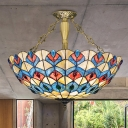 4 Lights Bedroom Ceiling Flush Tiffany Style Antique Brass Semi Flush Mount Light with Dome Stained Glass Shade