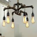 Open Bulb Chandelier Light Fixture Industrial Metal Pipe Pendant Chandelier for Living Room