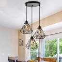 3 Lights Caged Chandelier Industrial Black Metal Ceiling Hanging Light Fixture for Dining Room with Round/Linear Canopy