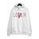 LOVER Letter Print Pocket Long Sleeve Hoodie
