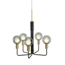 Sputnik Chandelier Lighting Contemporary Clear/Smoke Grey Glass 5 Lights Black Suspension Pendant