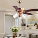 Floral Dining Room Ceiling Fan Lighting Vintage White Glass 5 Heads Gold Semi Flush Mount Light, Pull Chain/Remote Control