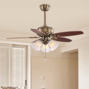 3 Lights Opal Frosted Glass Ceiling Fan Lamp Vintage Brown Blossom Kitchen Semi Flush Light Fixture, Remote/Remote and Wall Control