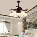 Opal Glass Black Ceiling Fan Bowl 6/8 Lights Traditionalism Semi Flush Mount Chandelier for Bedroom