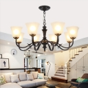 Frosted Glass Black Hanging Chandelier Flared 3/4/6 Lights Vintage Down Lighting Pendant for Living Room