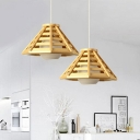 South-East Asia Hat Pendant Lamp Wood 1 Bulb Hanging Ceiling Light in Beige with Inner Ball White Glass Shade