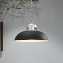 1 Head Domed Pendant Lighting Contemporary Metal Ceiling Hanging Light in Grey/Black for Dining Room
