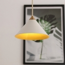 1 Head Living Room Hanging Lamp Modern White Pendant Light Kit with Conical Metal Shade
