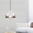 Frame Metal Down Lighting Contemporary 1 Head Red/Black Ceiling Hanging Light for Living Room