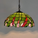 Green Dome Suspension Pendant Light Mediterranean 1 Light Cut Glass Hanging Lamp Kit