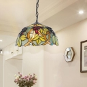 Stained Glass Dome Suspension Lighting Fixture Mediterranean 1 Light Blue/Green Drop Pendant