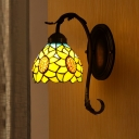 Cut Glass Sunflower Wall Mount Lamp Baroque Style 1 Light Yellow Sconce Light Fixture for Bedroom