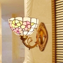Lotus Wall Lighting Idea Victorian Stained Art Glass 1 Light Pink/Green Sconce Light Fixture for Bedroom