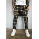 Hot Popular Checked Plaid Pattern Regular Fit Leisure Street Trousers for Men