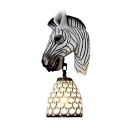 Zebra Head Sconce Light Fixture 1 Light Resin Tiffany Style Wall Mount Lamp in White