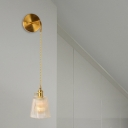 Gold 1 Head Wall Lamp Traditional Clear Prismatic Glass Barrel/Bell/Drum LED Wall Mount Light with Rounded Backplate