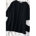 Trendy Street Long Sleeve Round Neck Stripe Print Patched Cut Out False Two-Piece Oversize Tee for Girls