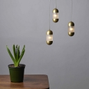 Froeted Glass Pill Capsule Hanging Light Modernism 1 Bulb Brass Suspended Lighting Fixture