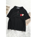 Basic Short Sleeve Lapel Neck Button Front Heart Printed Relaxed Fit Polo for Women