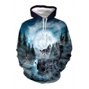 New Fashion Wolves in Forest 3D Print Long Sleeves Loose Pullover Hoodie